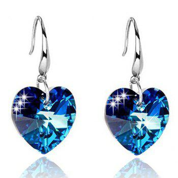 Pair of Faux Sapphire Heart Earrings