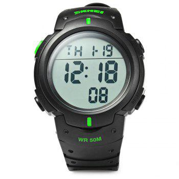 Skmei 1068 Military Army LED Watch Water Resistant Stopwatch Alarm Day Date Function - GREEN
