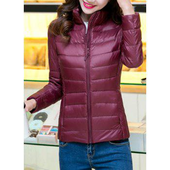 Brief Candy Color Stand Collar Long Sleeve Down Coat For Women