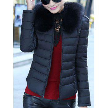 Graceful Long Sleeve Convertible Collar Faux Fur Spliced Women's Coat