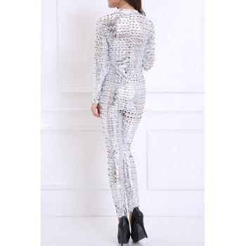 Fashionable Women's Turn-Down Collar Long Sleeve Hollow Out Dance Costume - SILVER ONE SIZE(FIT SIZE XS TO M)