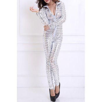 Fashionable Women's Turn-Down Collar Long Sleeve Hollow Out Dance Costume - SILVER SILVER