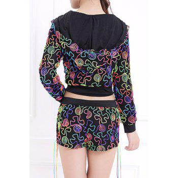 Fashionable Women's Hooded Print Two-Piece Dance Costume - BLACK ONE SIZE(FIT SIZE XS TO M)