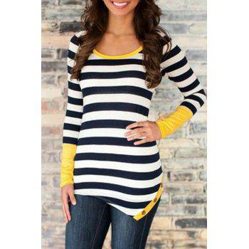 Stylish Scoop Neck Long Sleeve Striped Irregular Hem Women's T-Shirt
