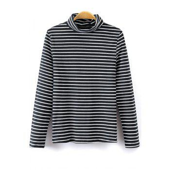 Trendy Turtle Neck Long Sleeve Striped Women's T-Shirt