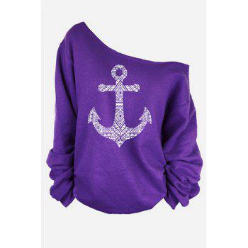 Stylish One-Shoulder Long Sleeve Anchor Print Women's T-Shirt