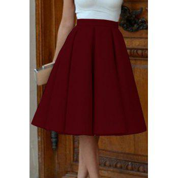 Elegant High-Waisted A-Line Solid Color Women's Midi Skirt