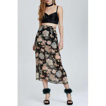 Elegant High-Waisted Floral Print Side Slit Women's Long Skirt
