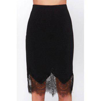 Stylish High Waisted Black Lace Spliced Women's Skirt