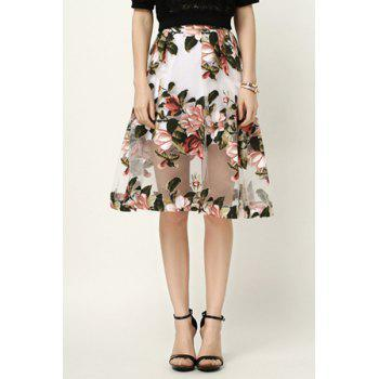 Fashion Jacquard Flower Print See-Through Women's Voile Skirt