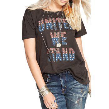 Stylish Jewel Neck Short Sleeve Letters Print Women's T-Shirt