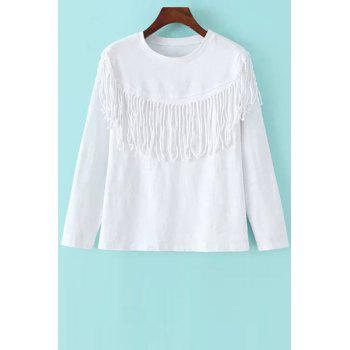 Stylish Round Neck Long Sleeve Tassels Women's T-Shirt