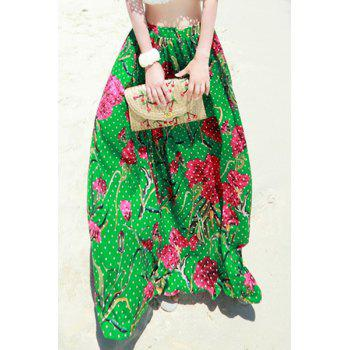 Bohemian High-Waisted Polka Dot Floral Print Women's Long Skirt