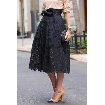 Trendy High-Waisted Bowknot Embellished Crochet Flower Women's Lace Skirt
