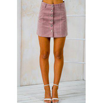 Stylish High Waist Solid Color Faux Suede Women's Skirt