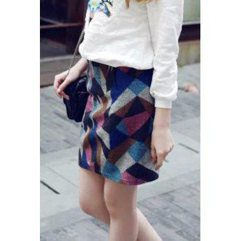 Stylish High Waisted Geometric Pattern Women's Skirt