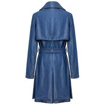 Stylish Lapel Long Sleeve Belted Women's Chambray Trench Coat - BLUE S