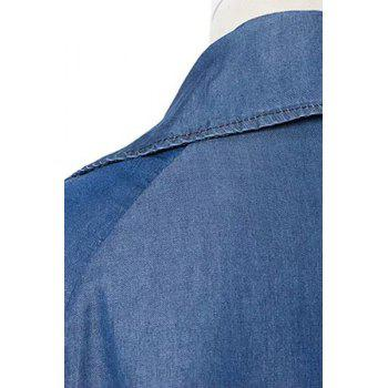 Stylish Lapel Long Sleeve Belted Women's Chambray Trench Coat - BLUE BLUE