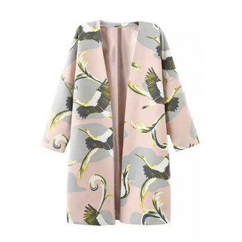 Ladylike Open Front 3/4 Sleeve Bird Print Women's Trench Coat