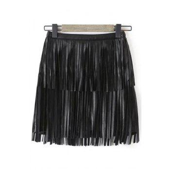 Trendy High-Waisted Tassels Women's Faux Leather Skirt