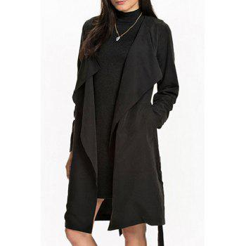 Elegant Angle Front Long Sleeve Pocket Design Self-Tie Belt Women's Trench Coat