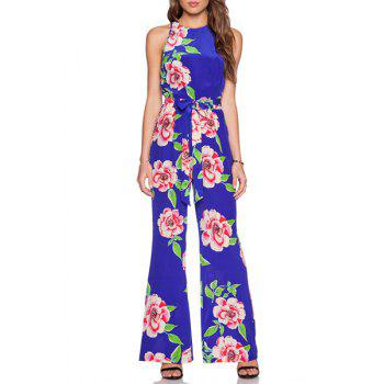 Stylish Round Neck Sleeveless Large Floral Print Wide Leg Women's Jumpsuit