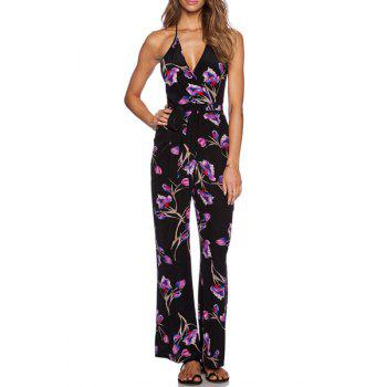 Refreshing Spaghetti Strap Sleeveless Floral Print Wide Leg Women's Jumpsuit
