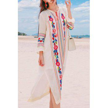 Bohemian V-Neck Long Sleeve Embroidered Side Slit Women's Midi Dress