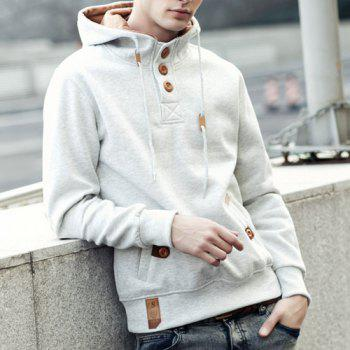 Hooded Drawstring Half Button Up Pullover Hoodie - WHITE XL