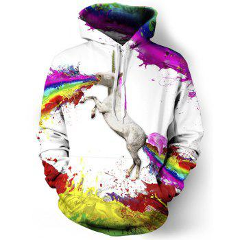 3D Unicorn Print Colorful Splash-Ink Front Pocket Loose Fit Drawstring Hooded Long Sleeves Men's Hoodie