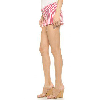 Stylish Straight Leg Red Striped Women's Shorts - RED/WHITE 2XL