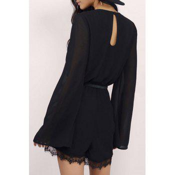 Alluring Plunging Neck Long Sleeve Lace Patchwork Women's Chiffon Romper - BLACK 2XL