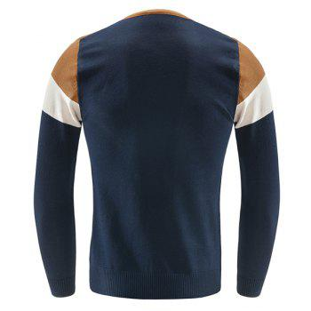 Checked Pocket Color Lump Spliced Geometric Pattern V-Neck Long Sleeves Men's Slimming Sweater - CADETBLUE 2XL