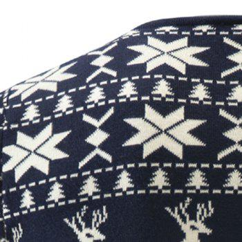 Hot Sale V-Neck Christmas Snowflake Fawn Intarsia Color Block Slimming Men's Long Sleeves Sweater - CADETBLUE 2XL