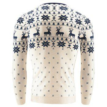 Hot Sale V-Neck Christmas Snowflake Fawn Intarsia Color Block Slimming Men's Long Sleeves Sweater - OFF WHITE 2XL