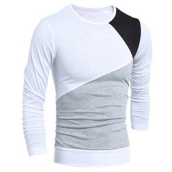 Round Neck Long Sleeves Multicolor Panel T-Shirt - WHITE M