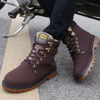 Lace Up Color Block Boots - DEEP BROWN DEEP BROWN