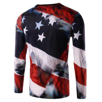 3D Eagle and Flag Print Round Neck Long Sleeve Men's T-Shirt - COLORMIX 2XL