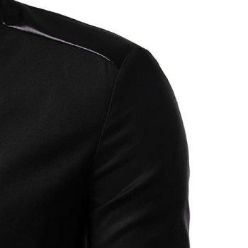 Personality Irregular Button Fly PU Leather Spliced Side Slit Stand Collar Long Sleeves Men's Slim Fit Blazer - GRAY XL