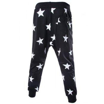 Stars Print Lace-Up Low-Crotch Beam Feet Slimming Men's Nine Minutes of Pants - BLACK 2XL