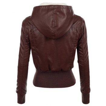 Stylish Long Sleeve Hooded Slimming Faux Leather Women's Jacket - BROWN S