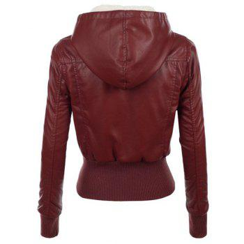 Stylish Long Sleeve Hooded Slimming Faux Leather Women's Jacket - WINE RED L