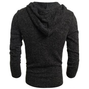 Single-Breasted Drawstring Hooded Solid Color Slimming Long Sleeves Men's Thicken Sweater - DEEP GRAY 2XL