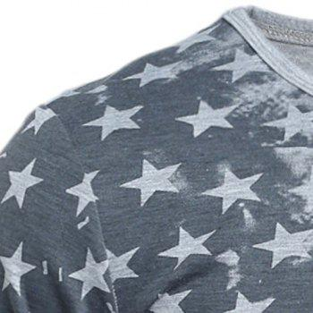 Distressed American Flag Printed Long Sleeve T-Shirt - WHITE L