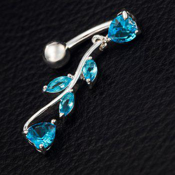 Stylish Rhinestone Leaf Navel Button For Women - BLUE