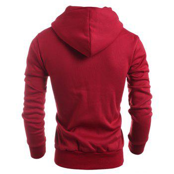 Double-Breasted Turn-Down Collar Long Sleeve Thicken Men's Jacket - RED L