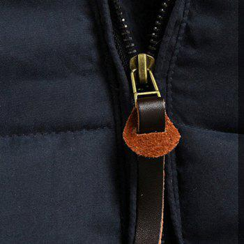 Personality Button Patch Pocket Solid Color Slimming Hooded Long Sleeves Men's Coat - BLUE XL