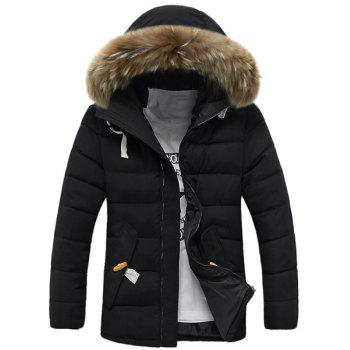 Personality Button Patch Pocket Solid Color Slimming Hooded Long Sleeves Men's Coat - BLACK BLACK