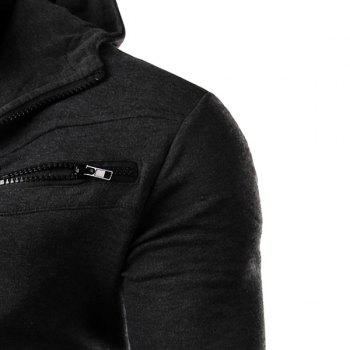 Multi-Zipper Patch Pocket Rib Spliced Hooded Long Sleeves Slimming Men's Thicken Faux Twinset Hoodie - DEEP GRAY DEEP GRAY
