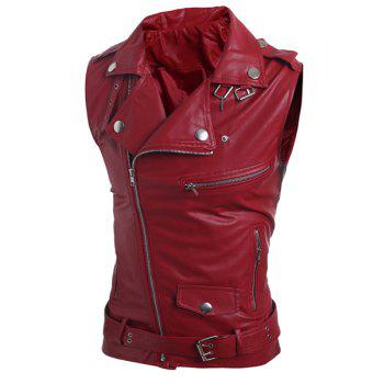 Belt Design Turn-Down Collar Zipper PU-Leather Sleeveless Men's Waistcoat - RED RED